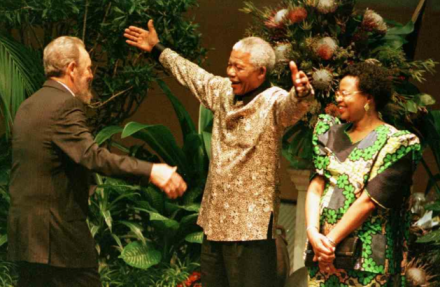 Fidel Castro, Nelson Mandela and his wife, Graça Machel.