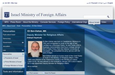 Israel's Deputy Minister of Religious Affairs, Rabbi Eli Ben-Dahan